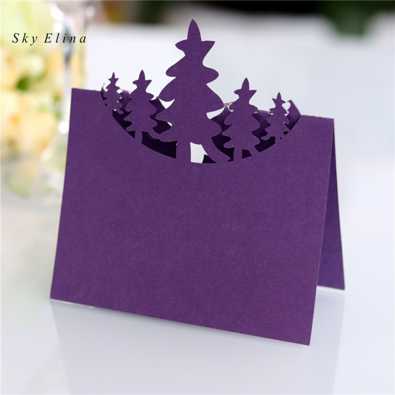 2b56bdf0a640c 10pcs Christmas Tree Table Name Card Hollow Seat Card Wedding Table ...