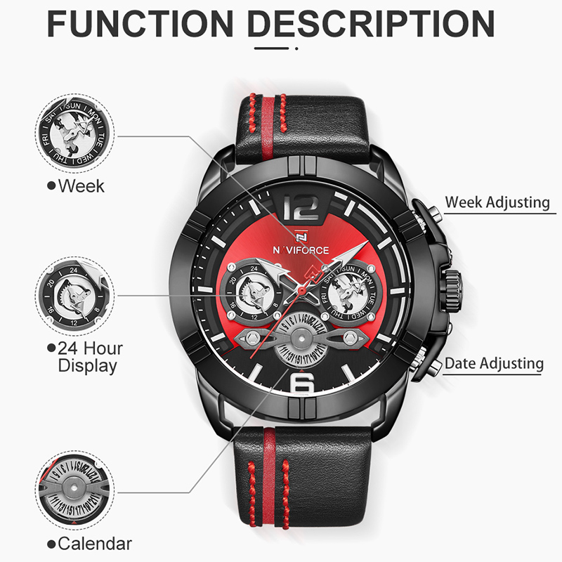 Image 5 - Relogio Masculino NAVIFORCE Men Watch Luxury Brand Mens Military Sports Quartz Watches Male Leather Waterproof Calendar Clock-in Quartz Watches from Watches