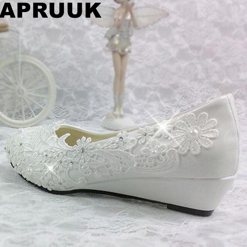 3 CM wiggen hak trouwschoenen bruiden wit licht ivoor kant vrouw partij dans schoen bruids jurk pompen wiggen schoenen