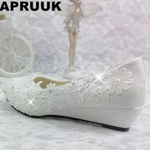 c030c69eb 3 CM calcanhar cunhas sapatos de casamento noivas luz branca do laço do marfim  sapato de dança do partido da mulher vestido de n.
