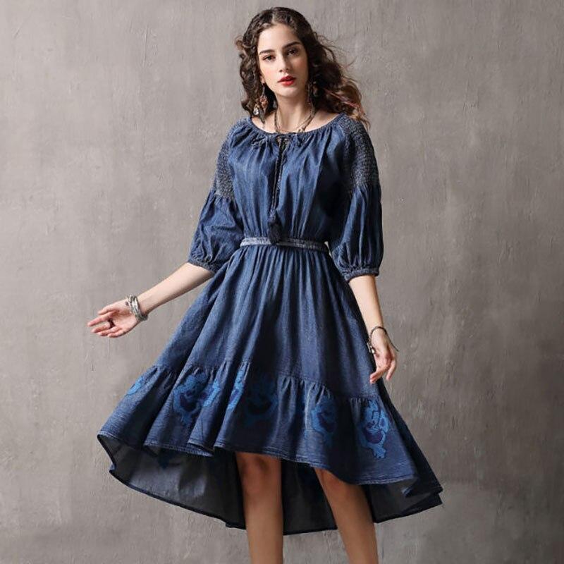 Été Automne 3 Vintage Robes 2018 4 Bleu Denim Manches Irrégulière wON80vnymP