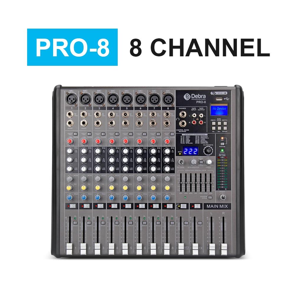 US $259 47 7% OFF|Professional Debra Audio PRO 8 Channel with 256 DSP Sound  Effects Bluetooth Studio Mixer Audio DJ Sound Controller Interf-in DJ