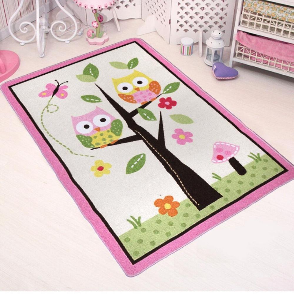 Maschine waschbar rosa eule cartoon teppich und teppiche für wohnzimmer kinder babyspielmatte baby teppiche teppiche baby
