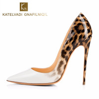 Brand Women Pumps Leopard White Shoes Woman High Heels Stiletto Evening Shoes Women Patent Leather Sexy