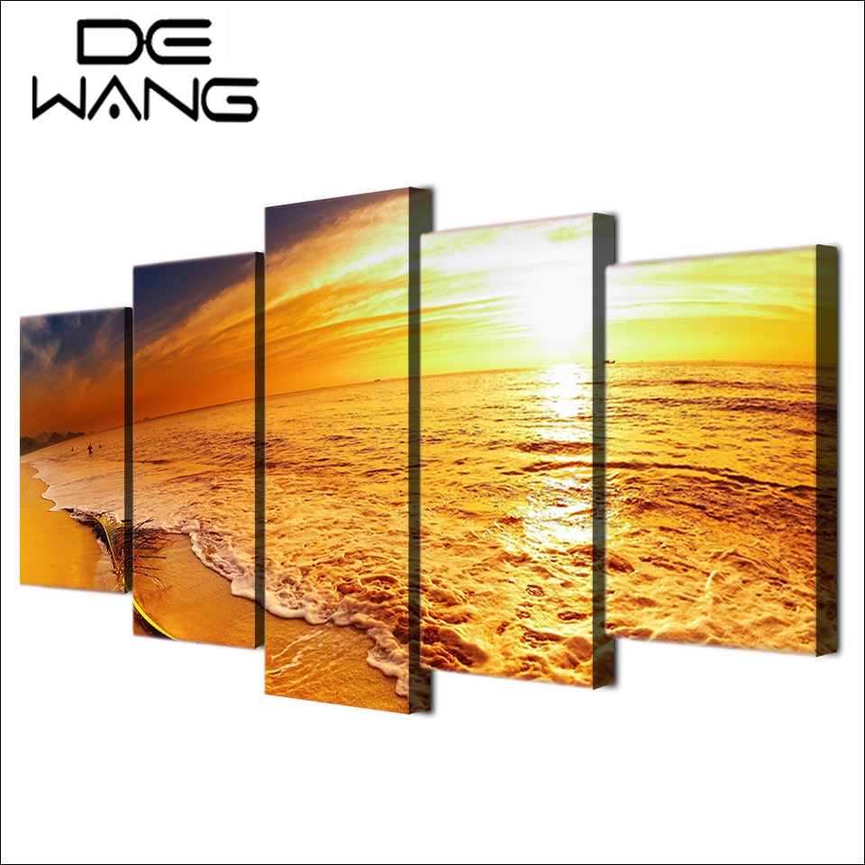 5 Pieces Canvas Wall Art Paintings Seascape Golden Sunset Sunrise ...