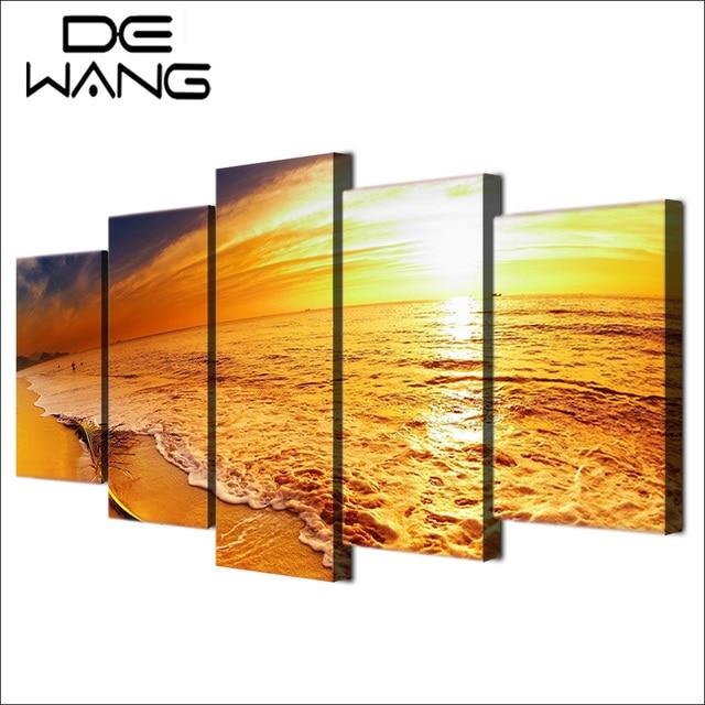 5 Pieces Canvas Wall Art Paintings Seascape Golden Sunset Sunrise ...