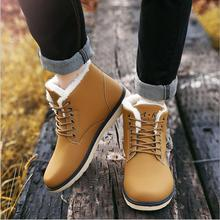 2016 Hot-selling men's autumn and winter shoes new men's bare boots fashion lace-up round head work boots size 39-44