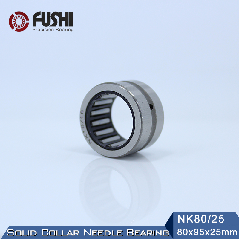 NK80/25 Bearing 80*95*25 mm ( 1 PC ) Solid Collar Needle Roller Bearings Without Inner Ring NK80/25 NK8025 Bearing nk25 30 needle roller bearing without inner ring size 25 33 30mm