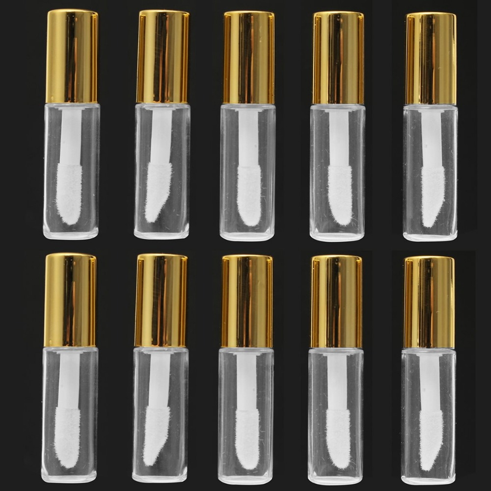 10 Pieces 1.2ML Empty Transparent PE Lip Gloss Tubes Plastic Lip Balm Tube Lipstick Mini Sample Cosmetic Container With Gold Cap 12 1mm 50pcs new arrival empty pink lipstick tube high quality plastic diamond lipstick container cylindric lip balm container