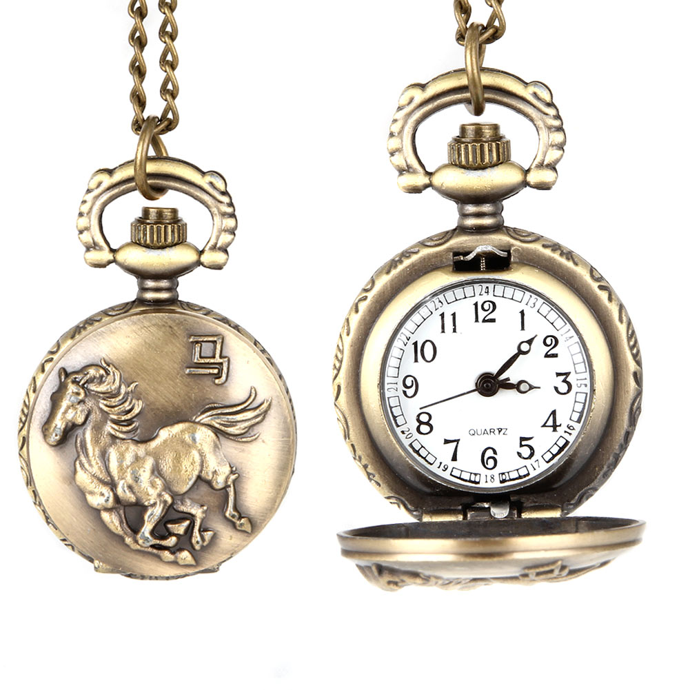 Fashion Vintage Unisex Quartz Pocket Watch Alloy Running Horse Necklace Pendant Men Women Sweater Chain Clock Gifts LL@1 2017 hot sell quartz pocket watch fob watches vintage hollow necklace pendant retro clock with chain gifts ll 17