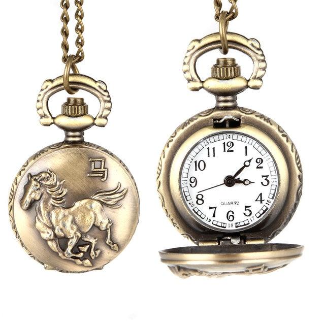 Fashion Vintage Unisex Quartz Pocket Watch Alloy Running Horse Necklace Pendant