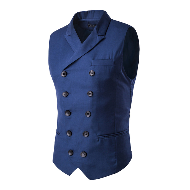 2016 Dos Homens Azuis Colete Breasted Dobro Dos Homens Vestido de Terno Colete homens Terno Formal Colete Gilet Vest Magro Jacket Negócios Tops homme
