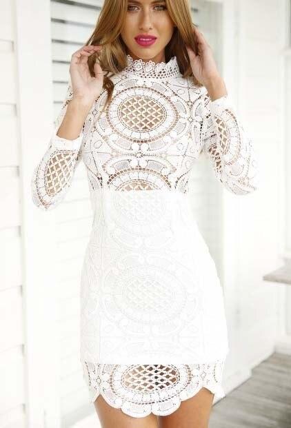 8ce781c3b0ef 2015 Summer women lace dress solid white dress long sleeve slim bodycon  dress mini sexy party club dresses vestido de festa
