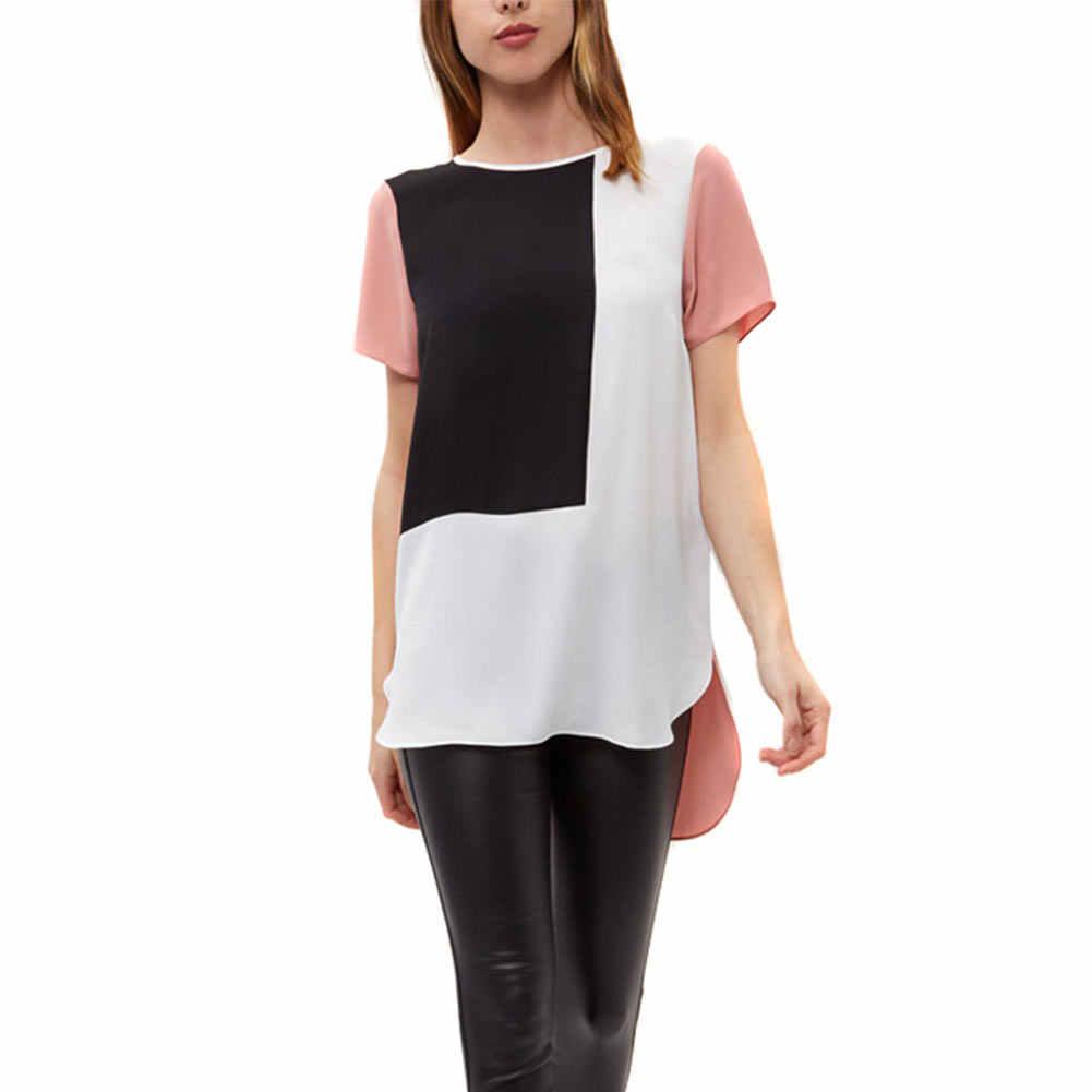 Wanita Longgar Long Chiffon Blus Kasual Patchwork Musim Panas Geometris Blus Shirt Plus Ukuran 6XL FDC99