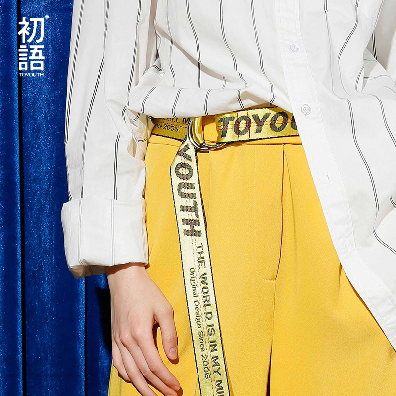 Toyouth Female   belt   Harajuku Brand Designer Letters Yellow Long Canvas Womens Waistband   Belts