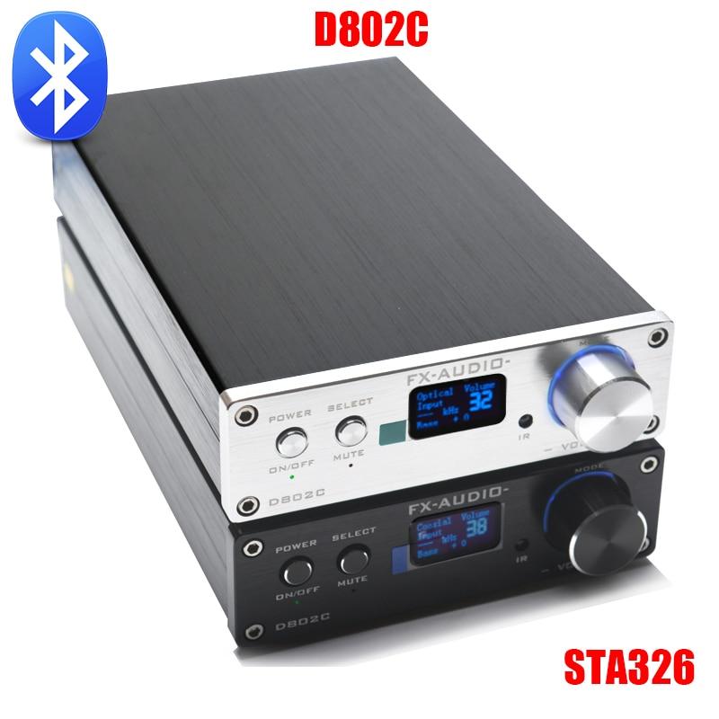 FX-Audio D802C Versione Senza Fili di Bluetooth Ingresso USB/AUX/Ottico/Coassiale Puro Amplificatore Audio Digitale 24Bit/192 KHz 80 W + 80 W OLED