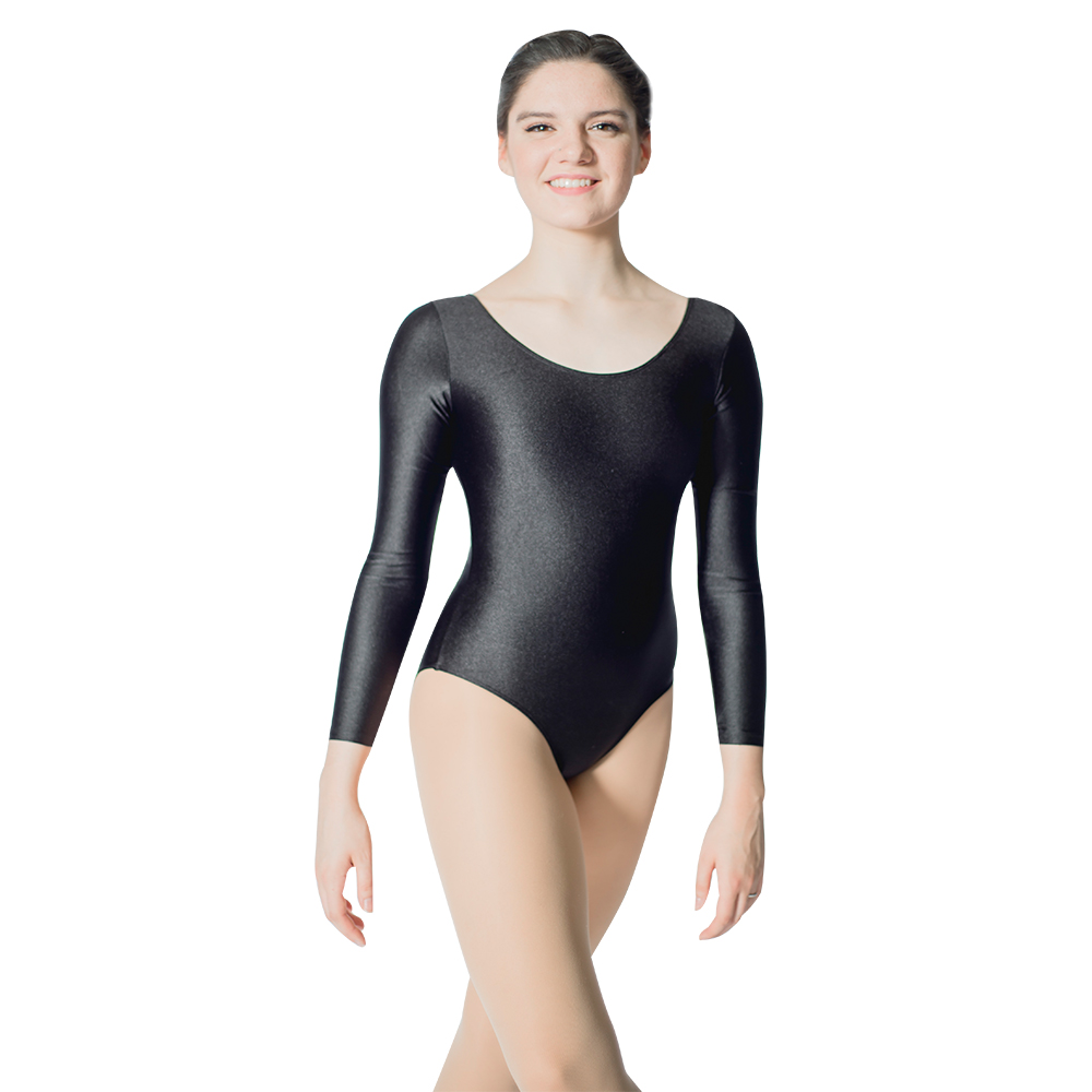 White Shiny Nylon/Lycra Long Sleeve Ballet Dancing Leotards With Drawstring Front For Girls And Ladies