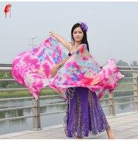 Commercio all'ingrosso arte a buon mercato belly dance silk veil 100% seta scialle sciarpa mano di rosa danza del ventre velo in danza del ventre puntelli