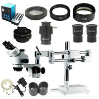 3.5X 90X Double Boom Stand Stereo Simul Focal trinocular Microscope+14MP Camera +144pcs Led Microscope for industrial PCB repair