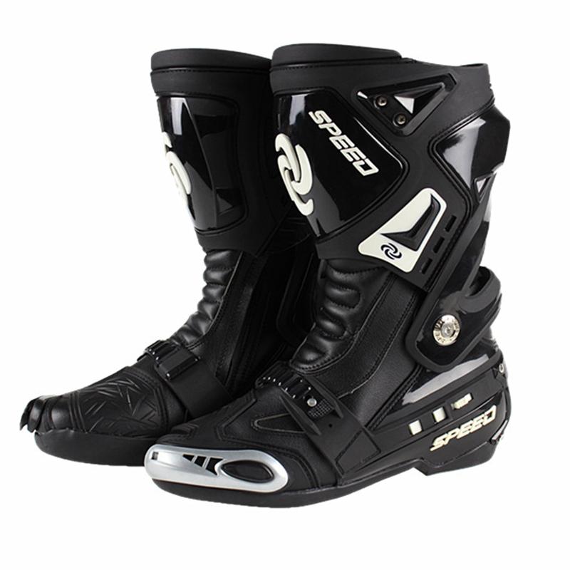 Prix pour Véritable PRO-BIKER Vitesse Moto Racing Route Course bottes Sneakers Chaussures Chevalier Microfibre En Cuir Non-glissement résistant à l'usure bottes