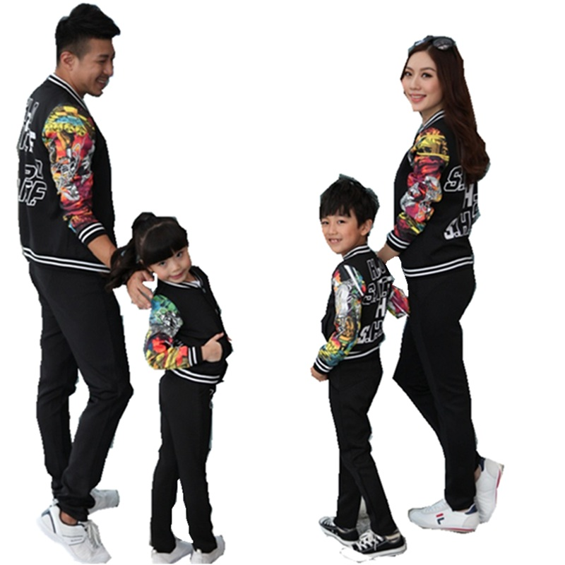 Sardiff Family Matching Clothes Mother Father Daughter Sun Black Sports Casual Clothing Set Printing Flower For Family Outfit father–daughter incest