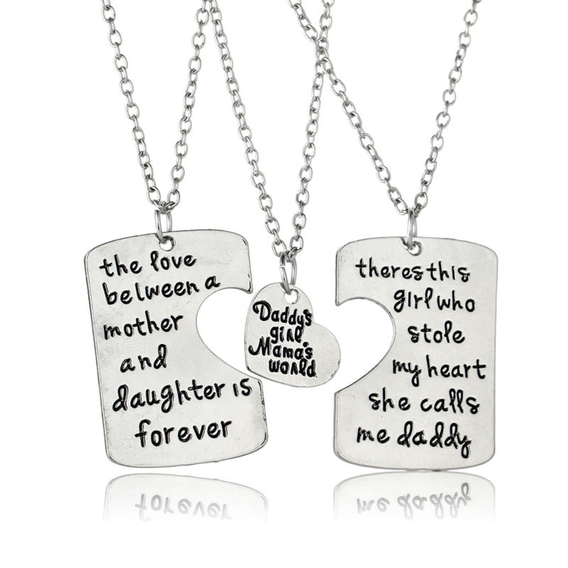 Best Gift For Dad From Daughter Part - 24: ... 3pc/set Dad Daughter Mother Pendant Necklace Best Gift Fashion Family  Motheru0027s Day U0026 Fatheru0027s ...