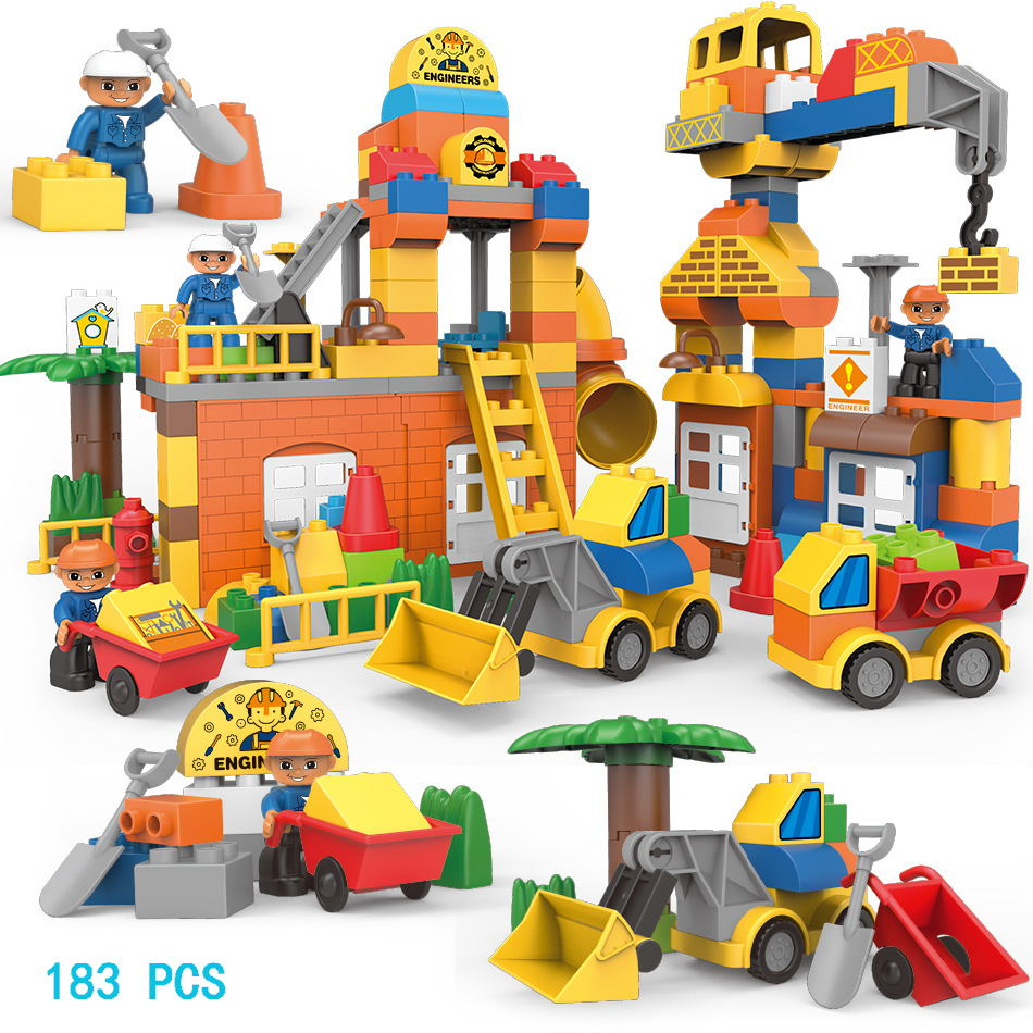 Duploe City Series Big Size Engineering Fire Brigade Firemen Figures Building Blocks Sets Compatible Legoings Bricks Kids Toys gorock 109pcs big blocks city fire department firemen building blocks set kids diy bricks creative toys compatible with duploe