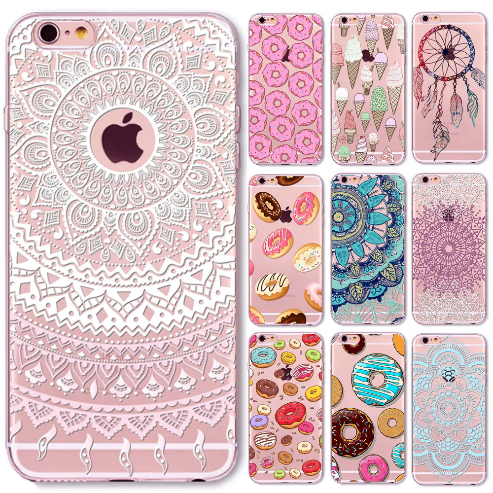 Phone Cases For iphone 6 6S 5 5S SE 6Plus 6SPlus Rainbow Color Hamburger Donuts Macaron Hollow Mandala Henna Retro Vintage Case