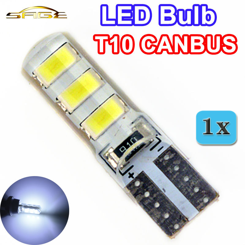 flytop Car LED Bulb T10 5730SMD CANBUS Silicone Shell 6 Chips W5W 12V Cold White Color Canbus Auto Side Clearance Plate Lamp 10pcs led car interior bulb canbus error free t10 white 5730 8smd led 12v car side wedge light white lamp auto bulb car styling