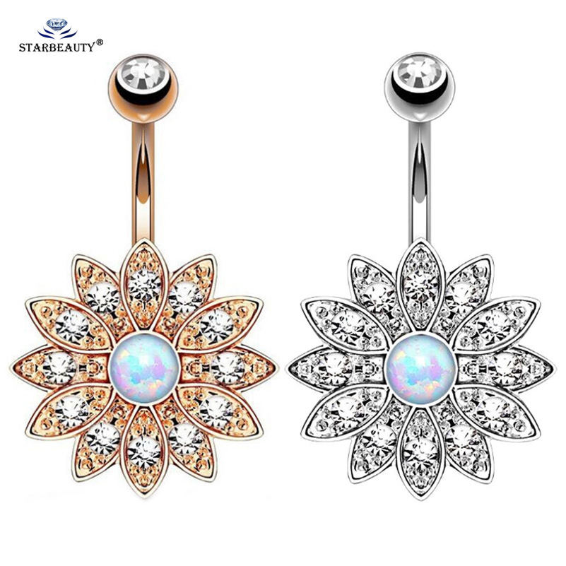 1pc Pure Lotus Opal Belly Piercing Belly Button Cincin Opal Pusingan Menindik Ombligo Perhiasan Badan Cincin Belly Bunga Pircing Anting-anting