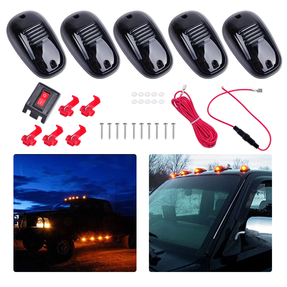 beler New 5Pcs 9 LED 12V Smoke Black Cover Amber Cab Marker Light Roof Top Lamp for Truck SUV Van Pickup Jeep Off-Road Crossover