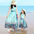 Family Matching Clothes Dresses Family Look Bohemia Chiffon Dress Sleeveless Long Beach Dress Matching Mother Daughter Clothes