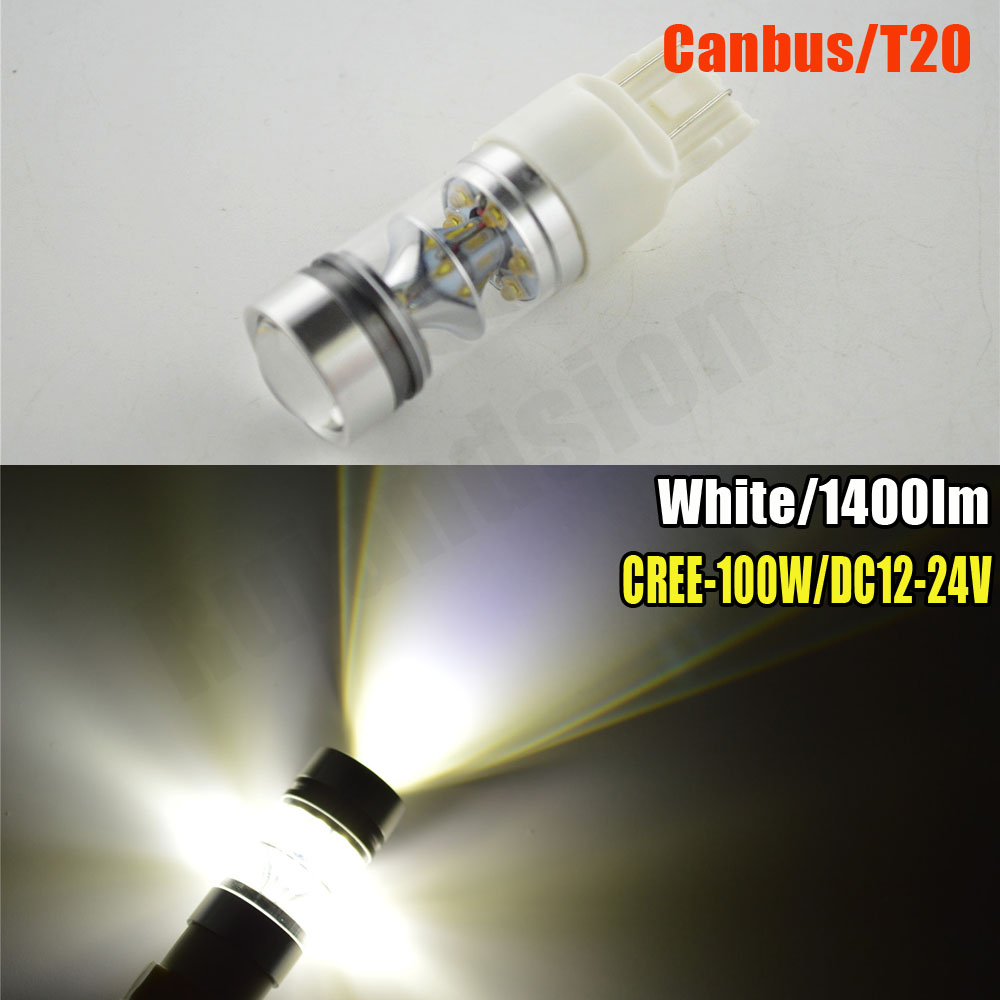 1pc 100W T20 Projector Led Canbus Free Error 7440 W21W 7443 w21/5w 20SMD LED 12-24V Car Auto Brake turn signal lights white 1156 bau15s 7440 7443 2835 20w canbus error free car auto front side turn signal drl daytime running lights lamps bulbs g