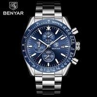 2019 BENYAR Men Stainless Steel Sport Chronograph Quartz Watch Casual Fashion Waterproof Full Calendar Men's Clock reloj hombre