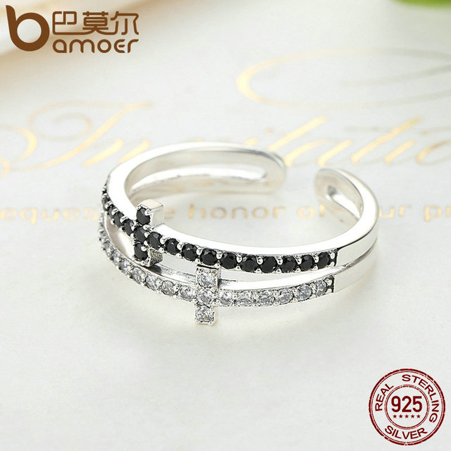 Sterling Silver Double Layer Cross Symbol Ring