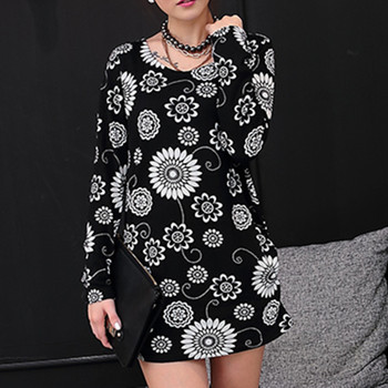 2018 Fashion Women autumn winter Pullovers Hollow Basic Knitted Sweaters casual Knitwear plus size loose sweater black flower