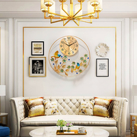 Art Gold Large Peacock Wall Clock Antique Modern Chinese Designer Wall Clock Living Room Nordic Design Zegary Clock Home 50w113
