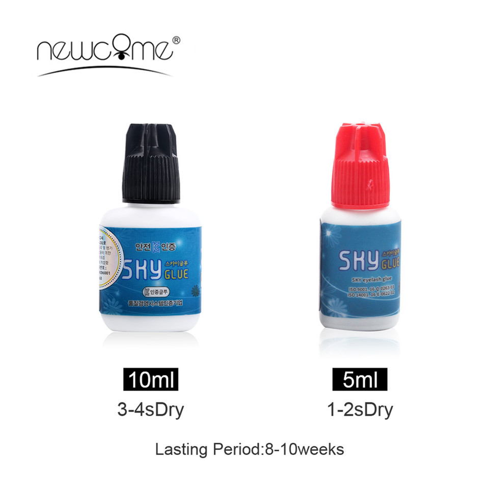 NEWCOME Eyelash Extension Sky Glue,Cleaner,Remover,1-2S Fast Drying Time Powerful Glue,Remover Adhesive Debonder for Silk Lash
