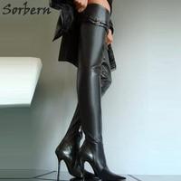 Sorbern Размеры 32 49 туфли на высоком каблуке, Высокий каблук из металла сапоги Для женщин 10 см 12 см 14 см женские туфли на высоком тонком каблуке с