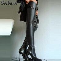 Sorbern Размеры 32 49 туфли на высоком каблуке шпильке из металла сапоги Для женщин 10 см 12 см 14 см женские туфли на высоком тонком каблуке сапоги д