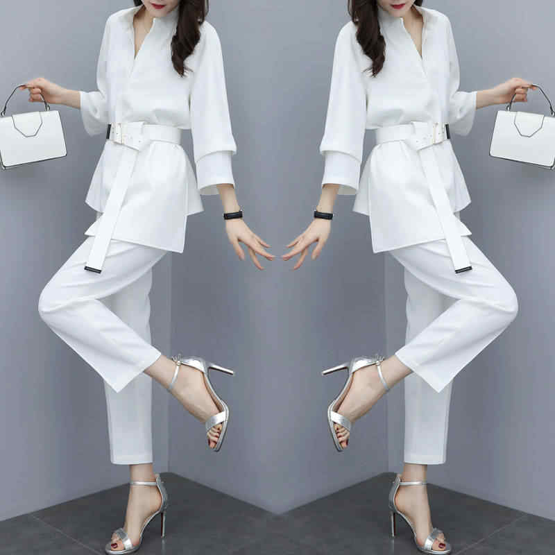 Summer women's Blouse suit Pant Suits 2 Piece Sets & Trousers Suit for Women Set 2019 Female Clothing Long Sleeve Women's Office