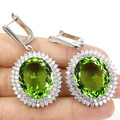Big Gem 22x18mm Green Tsavorite Garnet, White CZ Ladies  Silver Earrings 52x27mm