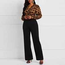 Leopard Sexy Jumpsuit Women Romper Long Sleeve Fall Office Vintage Fashion African Ladies Casual Jumpsuits High Waist Pants
