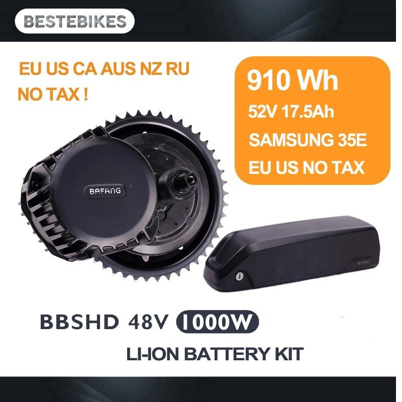 BBSHD Bafang 1000 w com 52v17. 5ah bateria kit bicicleta electrica BBS03 velo electrique meados de acionamento do motor kit UE EUA CA RU NENHUM IMPOSTO