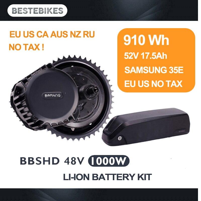 Bafang BBSHD 1000 w avec 52v17. 5ah batterie kit BBS03 velo electrique bicicleta electrica mi moteur lecteur kit UE US CA RU AUCUN IMPÔT