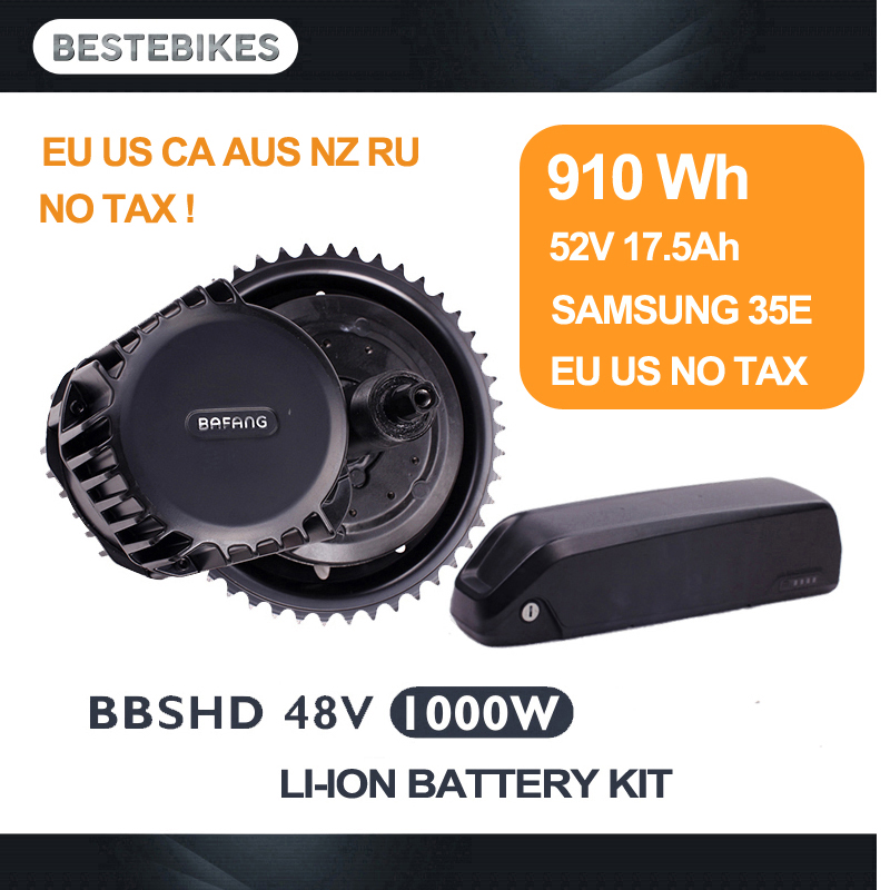 Bafang BBSHD 1000W with 52v17.5ah battery kit BBS03 velo electrique bicicleta electrica mid motor drive kit EU US CA RU NO TAX