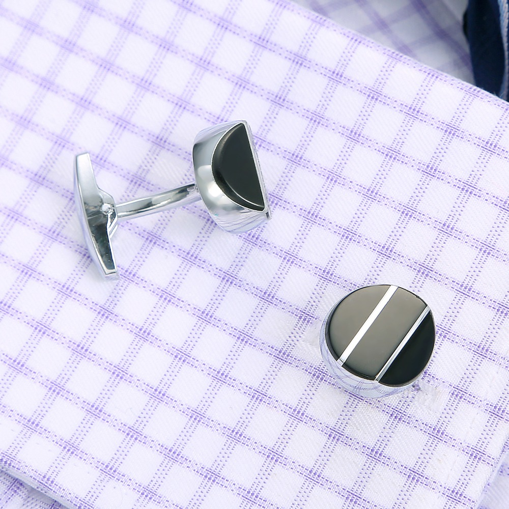 QiQiWu Classic Cufflinks For Mens Wedding Luxury Shirt Cuff links Men Cuff Buttons Gift Cuff link Black Christmas Gifts Cuffs in Tie Clips Cufflinks from Jewelry Accessories