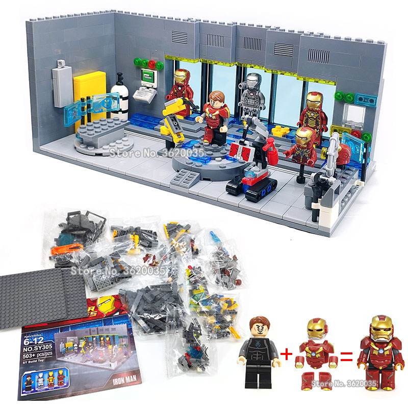 iron Man Underground laboratory basis Removable nail Mech figures weapom Building Blocks compatible legoinglys Super hero