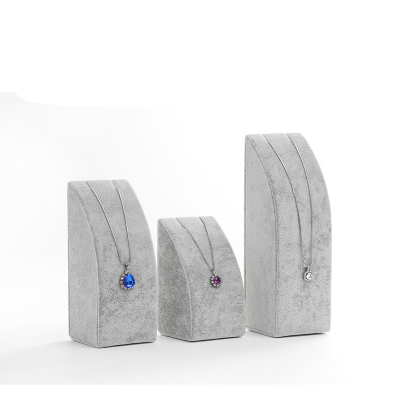 Velvet Jewelry Necklace Pendant Bracelet Earring Display Holder Stand Rack Show Case Black/Gray Color