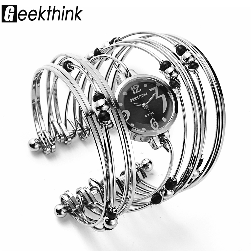 GEEKTHINK Bohemian Style Luxury Brand Quartz Watch Kvinnor Armband Dam Casual Klänning Pärlor Dekor Armbandsur Klocka Kvinnliga Tjejer